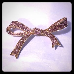 Kenneth Jay Lane pink gold and crystal bow pin